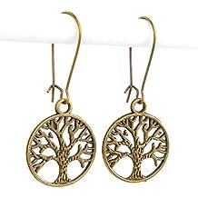 Tree of Life Mid length Drop Earrings in Antique Bronze