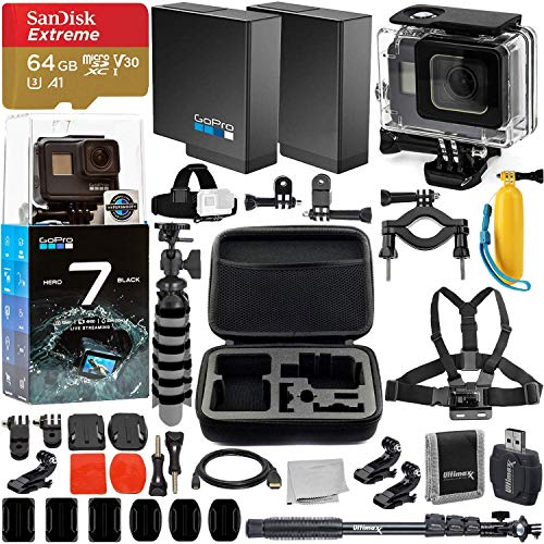 GoPro HERO7 Hero 7 Black Action Camera Super Bundle - Includes: SanDisk Extreme 64GB microSDHC Memory Card & Much More (Gopro Hero 3 White Refurbished)