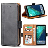 Google Pixel 2 XL Case, Bozon Wallet Case for Pixel 2 XL Flip Folio Leather Cover with Stand/Card Slots and Magnetic Closure (Dark Grey)