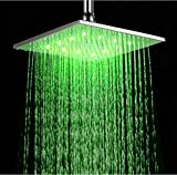 """LED Colors Chrome Brass Rain Shower Head Top Sprayer For 10"""" Wall / Ceiling Mounted"""