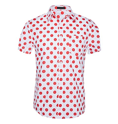 (CATERTO Men's Premium Polka Dot Print Casual Shirt Short Sleeve Cotton Shirts Red M)