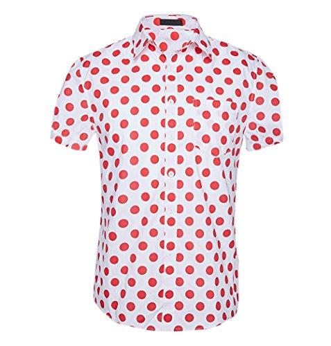 CATERTO Men's Premium Polka Dot Print Casual Shirt Short Sleeve Cotton Shirts Red S