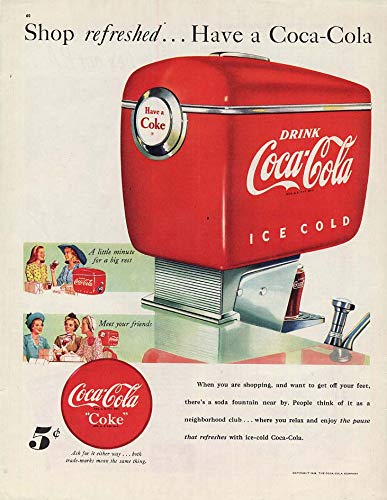 Shop refreshed - Have a Coca-Cola ad 1948 Soda Fountain dispenser Col