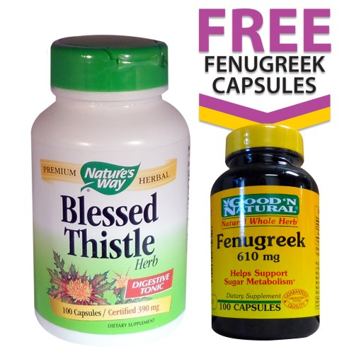 Nature's Way Blessed Thistle (390mg) 100 Capsules + FREE Fenugreek (610mg) 100 Capsules