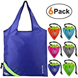 Reusable Shopping Bags 6 Pack Sturdy Ripstop Polyester Reusable Grocery Bags Easily Folding into Attached Pouch,Foldable Reusable Bags for Shopping, Machine Washable, Durable, Lightweight