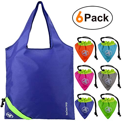 Reusable Shopping Bags 6 Pack Sturdy Ripstop Polyester Reusable Grocery Bags Easily Folding into Attached Pouch,Foldable Reusable Bags for Shopping, Machine Washable, Durable, Lightweight ()