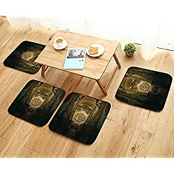 Leighhome Anti-Skid Chair Cushions Decor Medieval Secret Passage with Torch and Golden Clock on Wall Mystery in Health is Convenient W19.5 x L19.5/4PCS Set