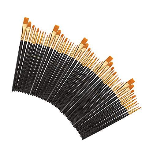 50 PCS Nylon Hair Paint Brushes Set Artist Paintbrush Lot Multiple Mediums Brushes for Watercolor Gouache Oil Painting…