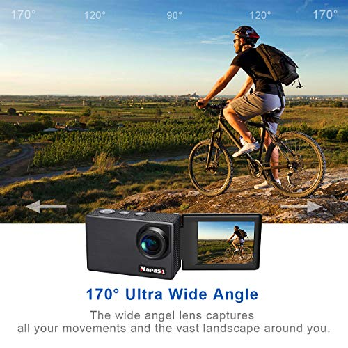 Napasa Action Camera 4K Ultra HD WiFi Sports Camera Underwater Wide Angle 170° with Remote Control and Helmet Accessories Kit