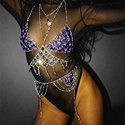 Sequins Body Chains Tassel Fashion Harness In Blue