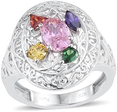 Multi Color Cubic Zirconia Platinum Plated Brass Openwork Ring TGW 2.400 Ct