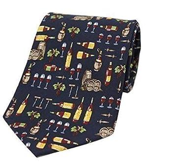 Soprano vino lovers Azul corbata de seda adornado con vino barrels ...