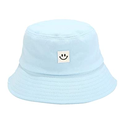 Sttech1 Womens Solid Color Cotton Caps Smile Printed Sunscreen Fisherman Hat for Hiking, Outdoor Blue: Clothing