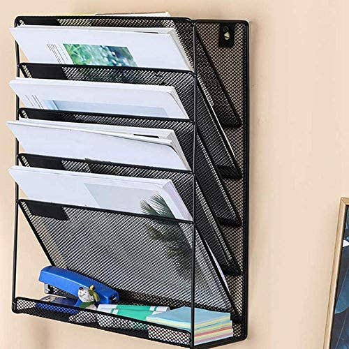 AGWa Desk File Organizer, Metallgitter Wandmontage Magazin Aktenregal Office Desk 5-Schicht-Intervall-Archiv Dateimagazin Notebook-Speicher Schwarz