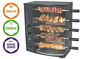 5 Skewer Rotisserie Gas Barbecue / Grill by Arke – Authentic Brazilian Barbecue at home - BBQ Roaster Oven - Perfect for Chicken, Fish, Beef, Vegetables & more! (5 Skewers)