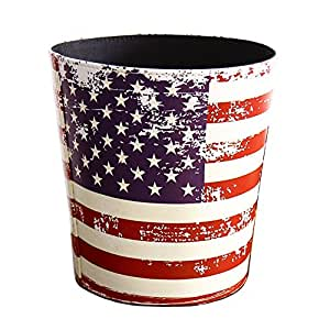 Kiaotime waste bin vintage decorative american flag design waste paper basket for for Bedroom waste baskets decorative