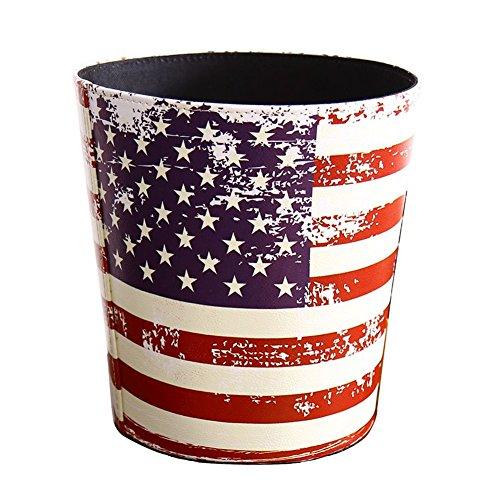 KiaoTime Waste Bin - Vintage Decorative American Flag Design Waste Paper Basket for Bedroom, Kitchen,Bathroom, Office or Studio Trash Can Garbage Wastebasket Rubbish Bin (American Flag)