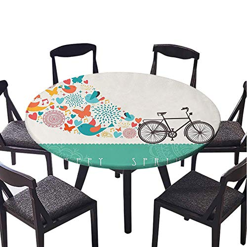 SATVSHOP Tablecloth Heavy Weight Dust-Proof Table Cover-70 Round-Bicycle Happy Spring Themed Bike Concept with Blossomed Bird and Butterfli Fr h Textured Teal Grey.(Elastic Edge)