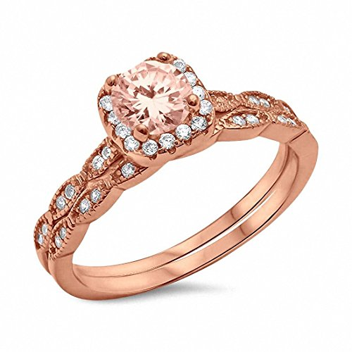 Band Morganite Ring - Blue Apple Co. Two Piece Halo Art Deco Wedding Engagement Ring Band Simulated Morganite Rose Tone 925 Sterling Silver,Size-8