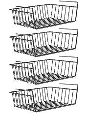 LilyJudy Under Shelf Basket, 4 Pack Black Iron Rack, for Storage Space on Kitchen Pantry Desk Bookshelf Cupboard