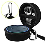 Travel Portable Carrying Protective Hard Case Box Pouch for Amazon All-New Echo Dot(2nd Generation) with Carabiner(Fits USB Cable and Wall Charger) (Black(Black Zipper))