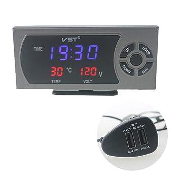 Aiming Pantalla LED Digital del Coche del termómetro del Reloj con el Cigarrillo del USB del voltímetro Auto del zócalo del alumbrador del Cargador: ...