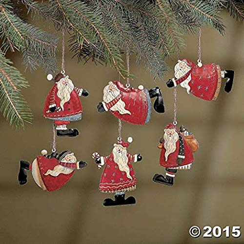 (Set of 12 Painted Tin Santa Folk Decoration Christmas Ornaments)