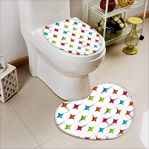 (L-QN Lid Toilet Cover Abstract Geometric Design Modern Graphic Mosaic Grid Mesh Pattern Image Multicolor Cushion Non-Slip)