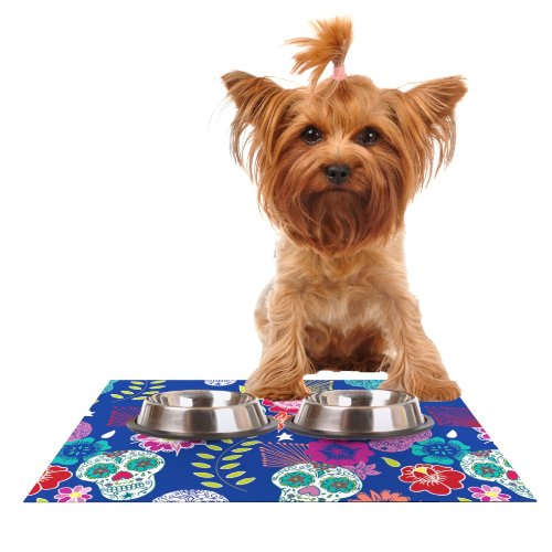 Kess InHouse Anneline Sophia Day of The Dead  bluee Aztec Feeding Mat for Pet Bowl, 18 by 13