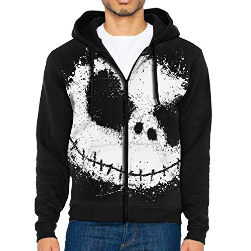 - Full-Zip Men's Hooded Sweatshirt Ink Skull Hoodie Sweaters Pullover Hoody Cool Jacket for Men and Women Black