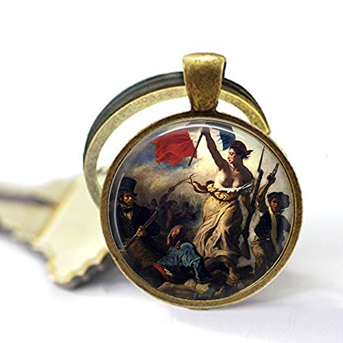 French Revolution - Liberty Leading The People - Eugene Delacroix - French Patriotism - France Keychain - Classic Art Jewellery ()