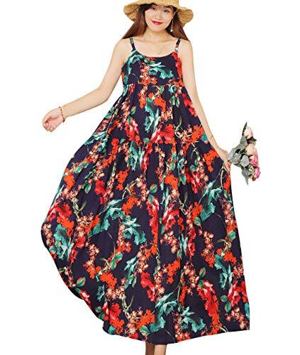 YESNO Women Casual Loose Bohemian Floral Print Empire Waist Spaghetti Strap Long Maxi Summer Beach Swing Dress XS-5X E75 (XL, E75 As Picture66)
