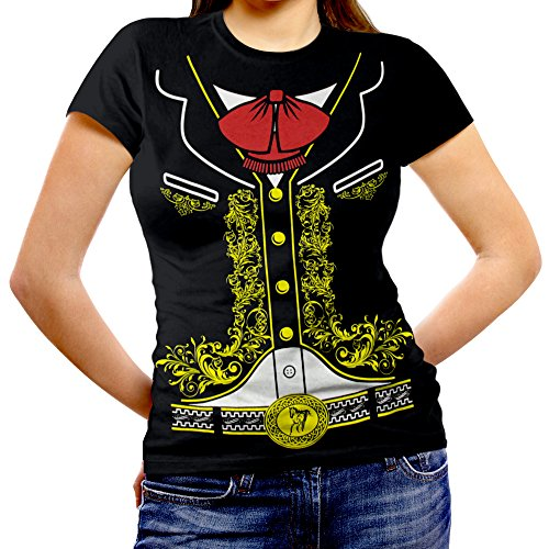 Viva Mexico Women's Mexican Mariachi T-Shirt Medium Black ()