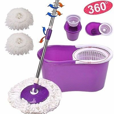 360° Easy Clean Floor Mop Bucket 2 Heads Microfiber Spin Rotating Head - Purple