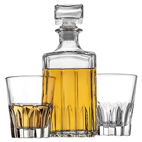 Godinger Whiskey Decanter and 2 Whiskey Glasses Bar Set, Italian Made Decanter for Liquor Scotch Bourbon Vodka