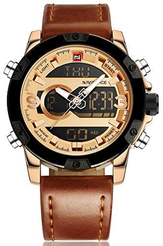 NAVIFORCE Men Leather Band Multifunction LED Waterproof Dual Display Quartz Digital Wrist Watch