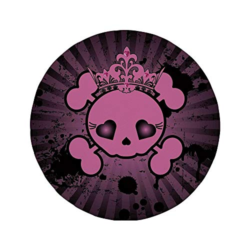 Non-Slip Rubber Round Mouse Pad,Skull,Cute Skull Illustration with Crown Dark Grunge Style Teen Spooky Halloween Print Decorative,Pink -
