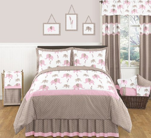 Pink and Brown Mod Elephant Childrens and Kids 3 Piece Full / Queen Girls Bedding Set