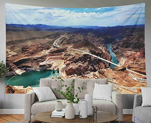 - Psychedelic Art Gold Tapestry,Musesh Tapestries Wall Hanging for Bedroom Living Room Decor Inhouse CANYON ARIZONA AZ USA A panoramic view of Hoover Dam and the Colorado River Bridge 80x60 Inches Size