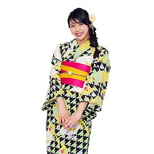 ゆかた屋hiyori オリジナル変わり織浴衣 インコシリーズ レディース B07171D68H  新緑にインコ