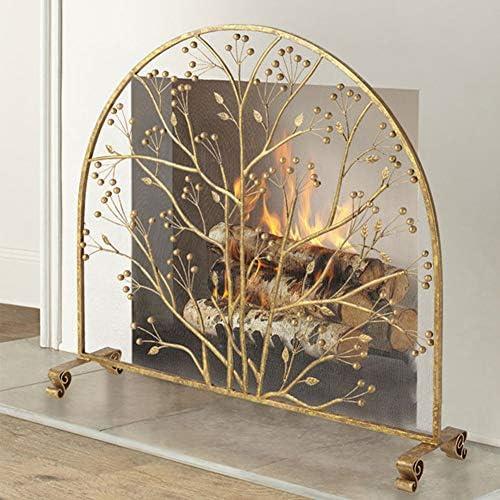 """大きな金の暖炉スクリーン、錬鉄製の安全な暖炉フェンススパークガードカバー、屋外の金属装飾メッシュ、37.8""""L X 35.4"""" H"""