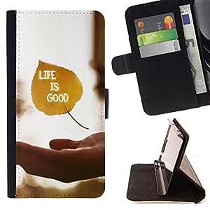 BullDog Case - FOR/HTC Desire 820 / - / Life Is Good /- Monedero de cuero de la PU Llevar cubierta de la caja con el ID Credit Card Slots Flip funda de cuer