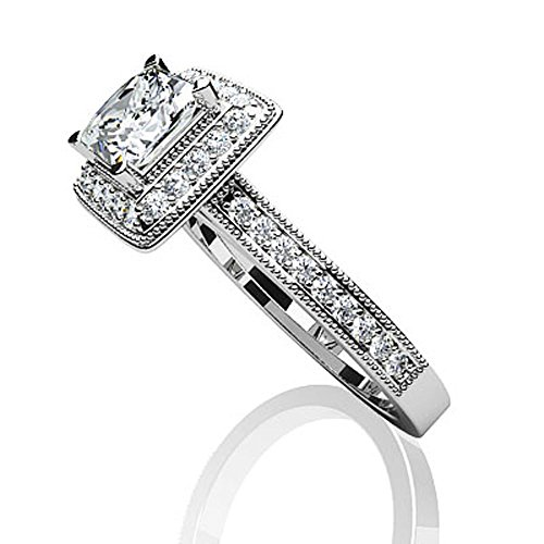 14 K Or blanc diamant Dreams Princesse Bague de fiançailles