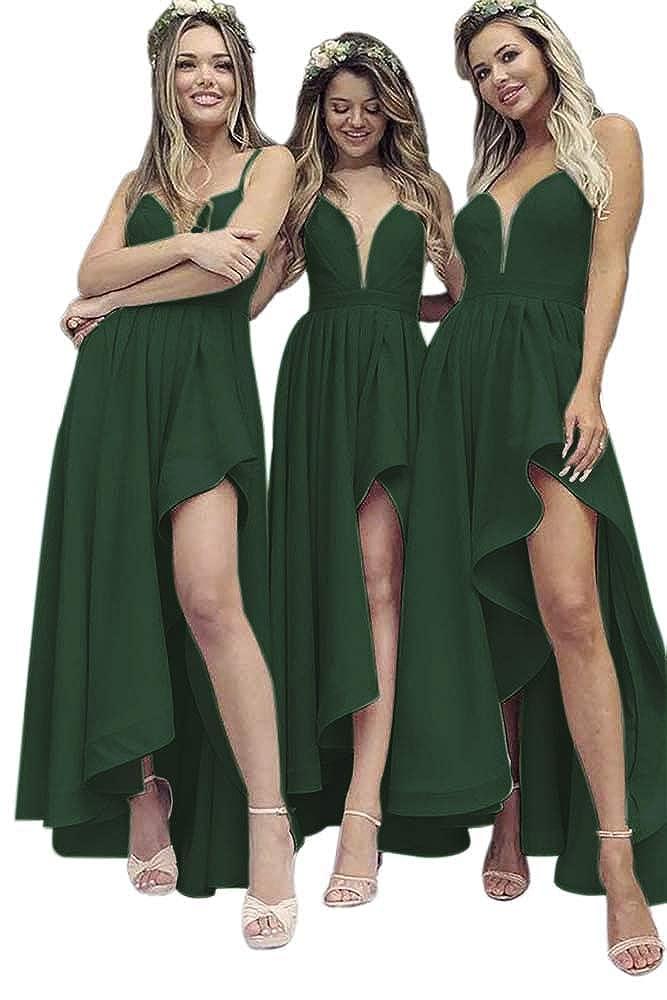 Emerald Green Dressylady A Line V Neck Spaghetti Straps High Low Satin Bridesmaid Dress Wedding Party Dress