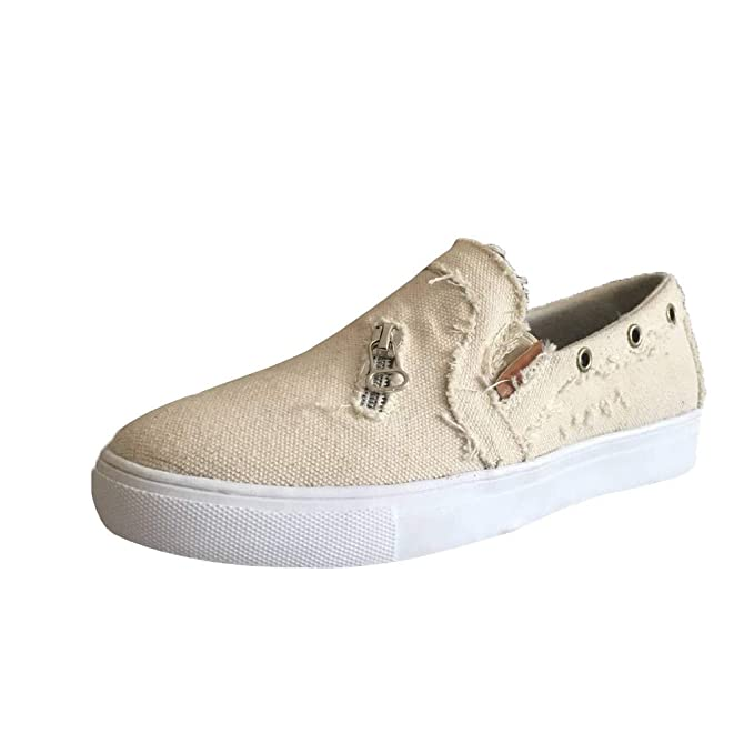 4508dbaafea29 Amazon.com: Womens Distressed Canvas Sneaker Shoes Loafers Slip on ...