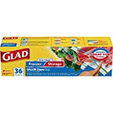 zipper freezer bags - Glad Food Storage and Freezer 2 in 1 Zipper Bags - Gallon - 36 Count
