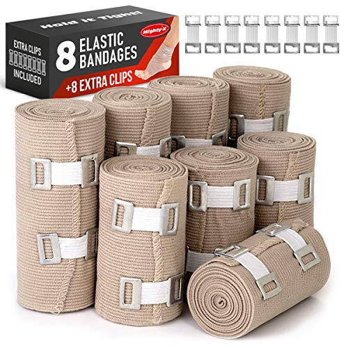 Elastic Bandage Wrap - 8 Pack + 8 Extra Clips - Durable Compression Bandage (4X - 3 inch, 4X - 4 inch Rolls) Stretches up to 15ft in Length