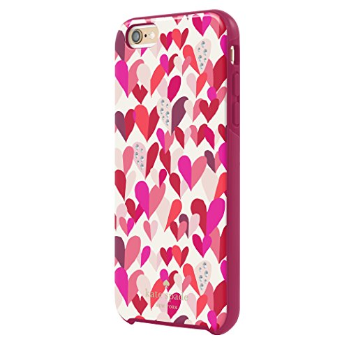 kate spade new york iPhone 6s Plus Case [Shock Absorbing] Cover fits both iPhone 6 Plus, iPhone 6s Plus - Confetti Hearts / Crystal Stones