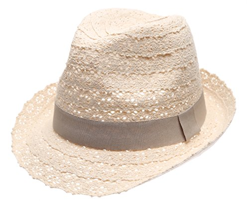 Women's Summer Foldable Vented Lace Trilby Fedora Beach Sun Hat with the Band. (Natural)