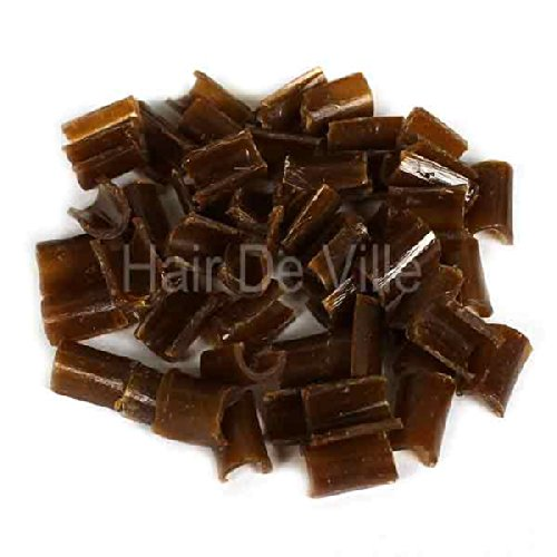 100 PCS Brown Fusion Keratin U Glue Tips Rebond Granules By Hair De Ville + 3 Pcs Silicone Finger Protectors